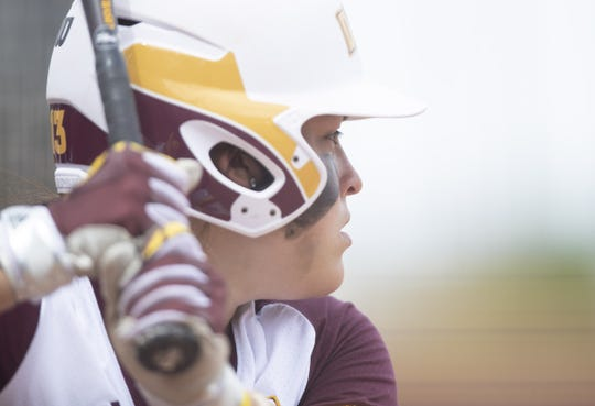 Maddi Hackbarth (13) of Arizona State bats against Stanford University at Farrington Softball Stadium on Sunday, May 6, 2018 in Tempe, Arizona.