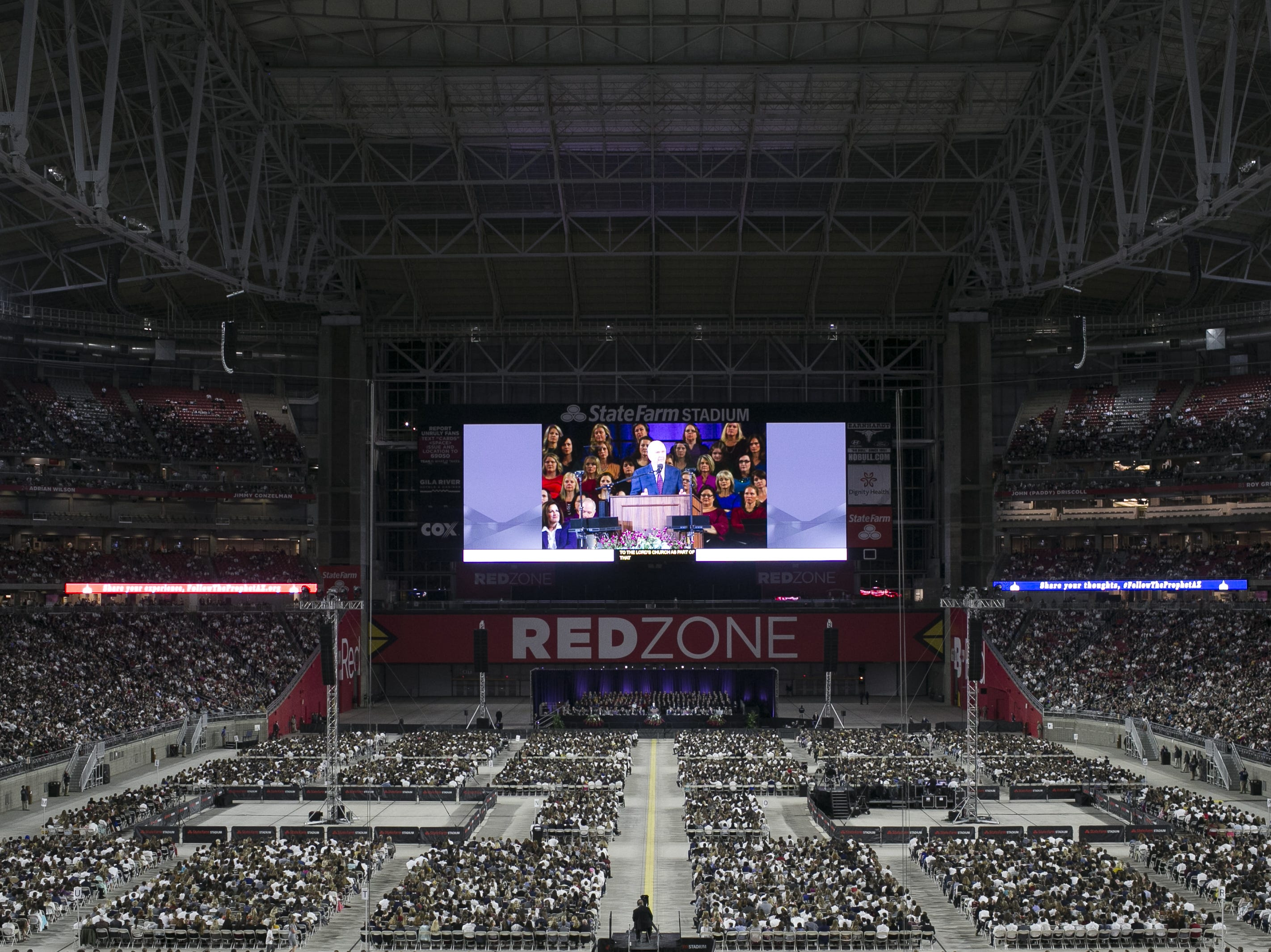 Russell Nelson, president of the Church of Jesus Christ of Latter-day Saints, speaks to members of the church at a devotional at State Farm Stadium on  Feb. 10, 2019.