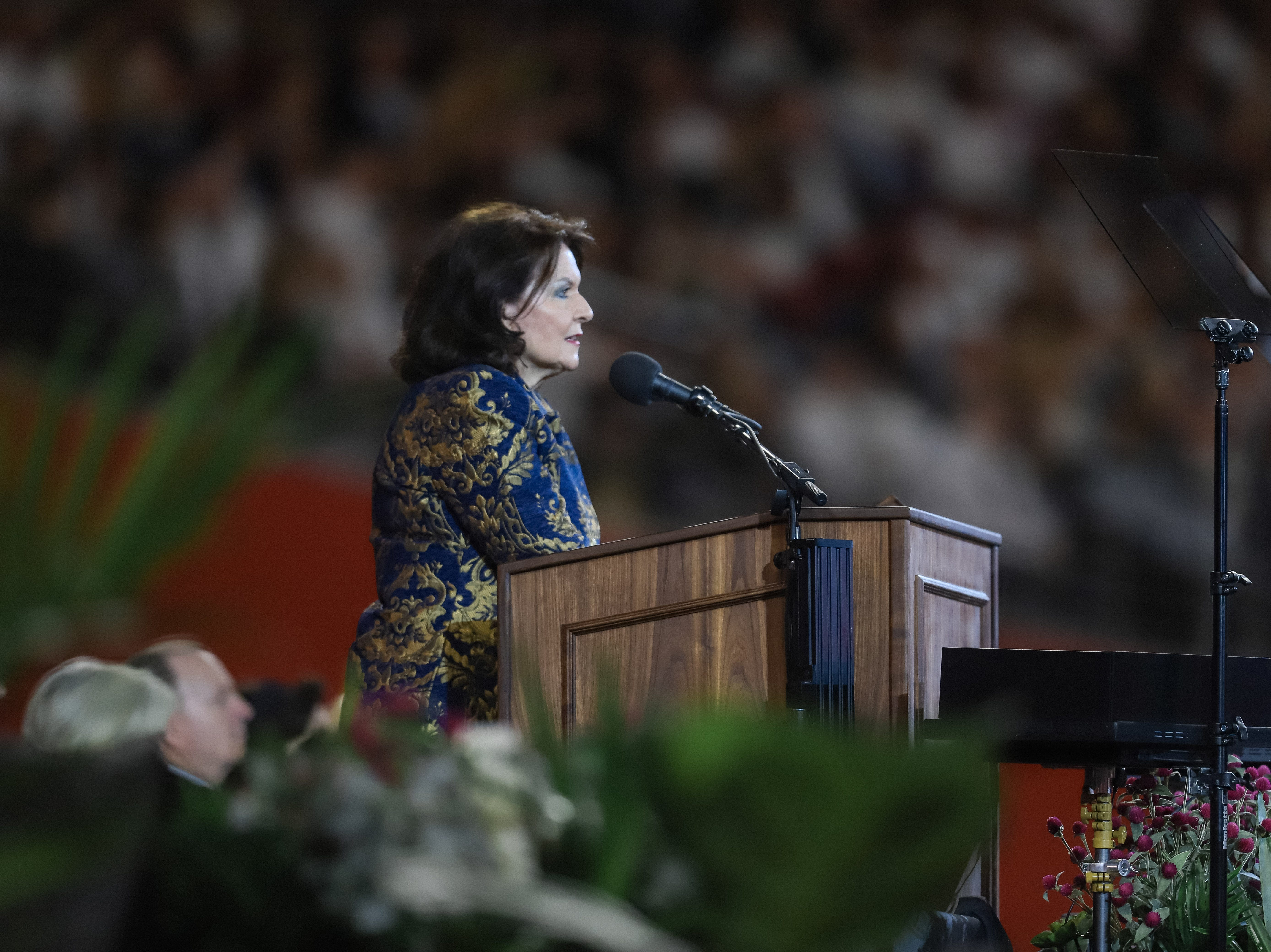 Wendy Watson Nelson, the wife of President Russell M. Nelson, prophet of the Church of Jesus Christ of Latter-day Saints, speaks at State Farm Stadium in Glendale, Arizona on Sunday, Feb. 10, 2019.