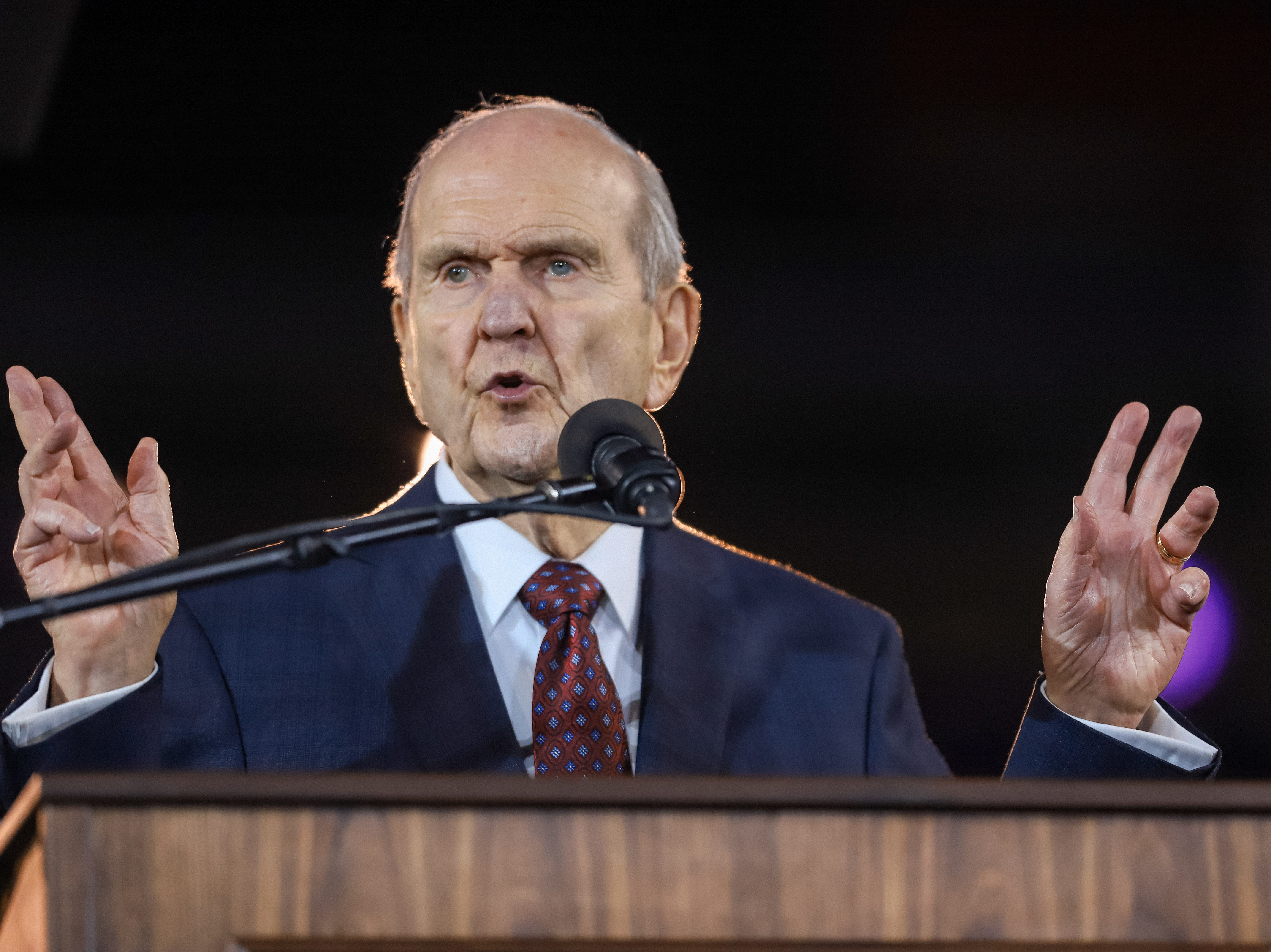 President Russell M. Nelson, the prophet of the Church of Jesus Christ of Latter-day Saints, speaks to nearly 70,000 people at State Farm Stadium in Glendale, Arizona on Sunday, Feb. 10, 2019.