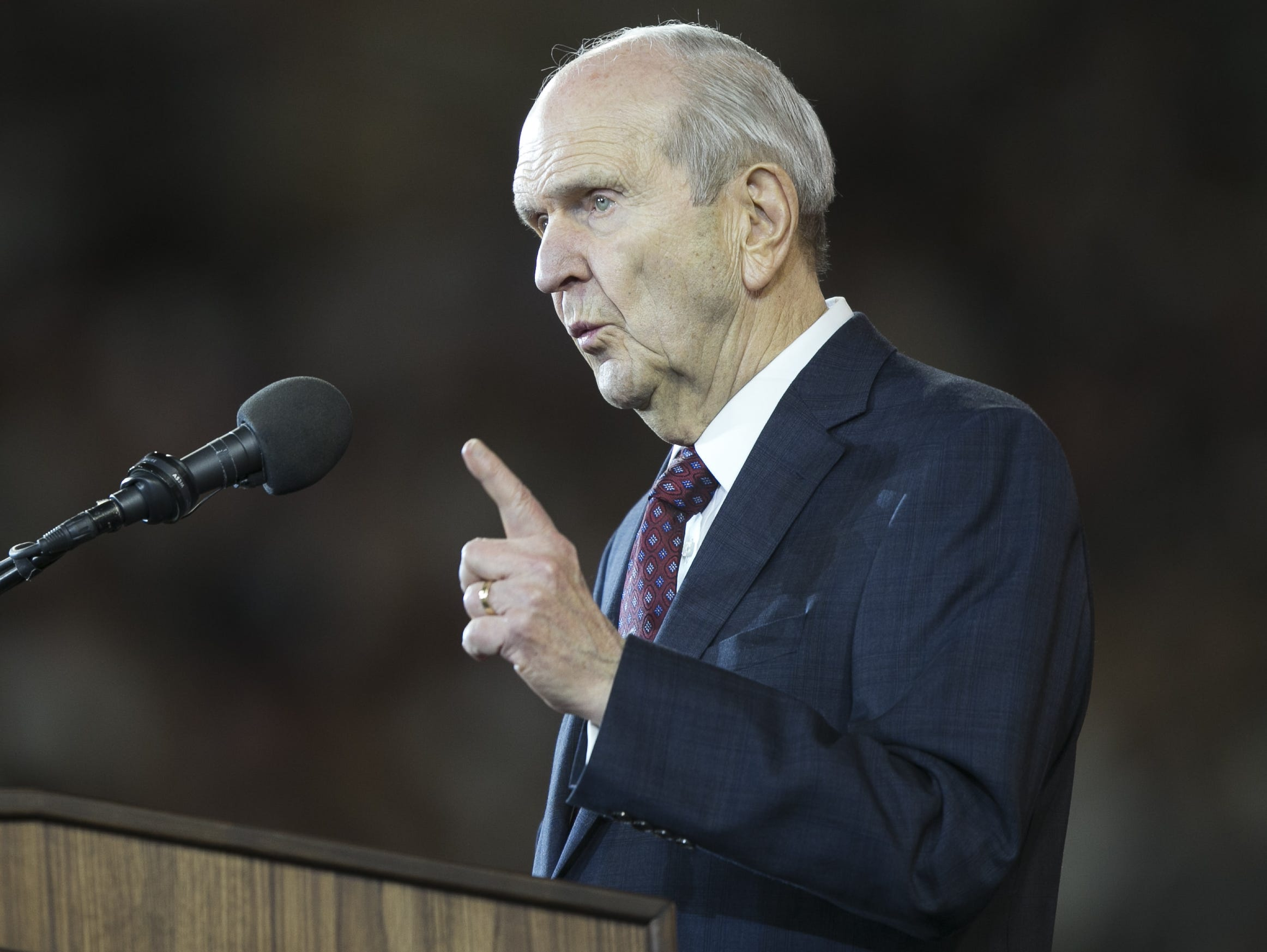 Russell Nelson, president of the Church of Jesus Christ of Latter-day Saints, speaks at a devotional at State Farm Stadium on Sunday, Feb. 10, 2019.