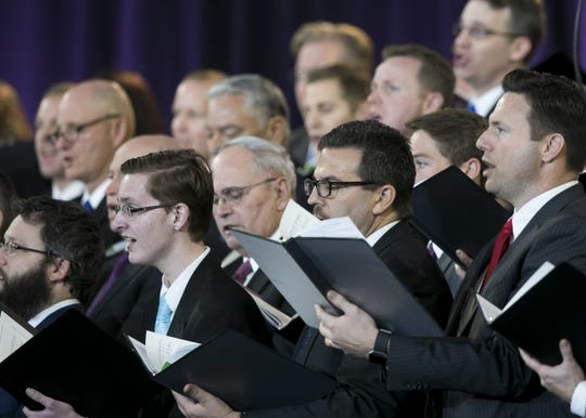 Gospel members of the Church of Jesus Christ of Latter-day Saints sing at State Farm Stadium before a devotional in Glendale, Arizona on Sunday, Feb. 10, 2019.