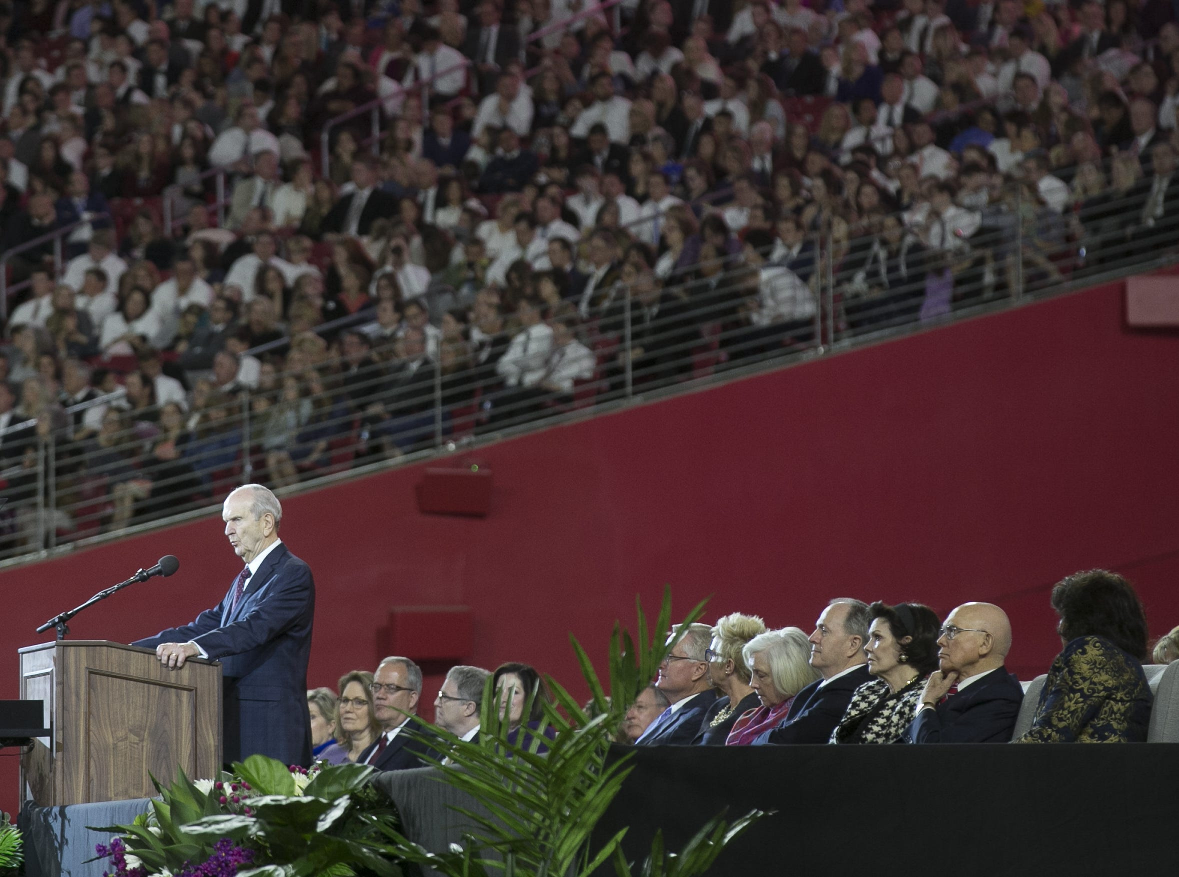 Russell Nelson, president of the Church of Jesus Christ of Latter-day Saints, speaks to members of the church at a devotional at State Farm Stadium on Sunday, Feb. 10, 2019.