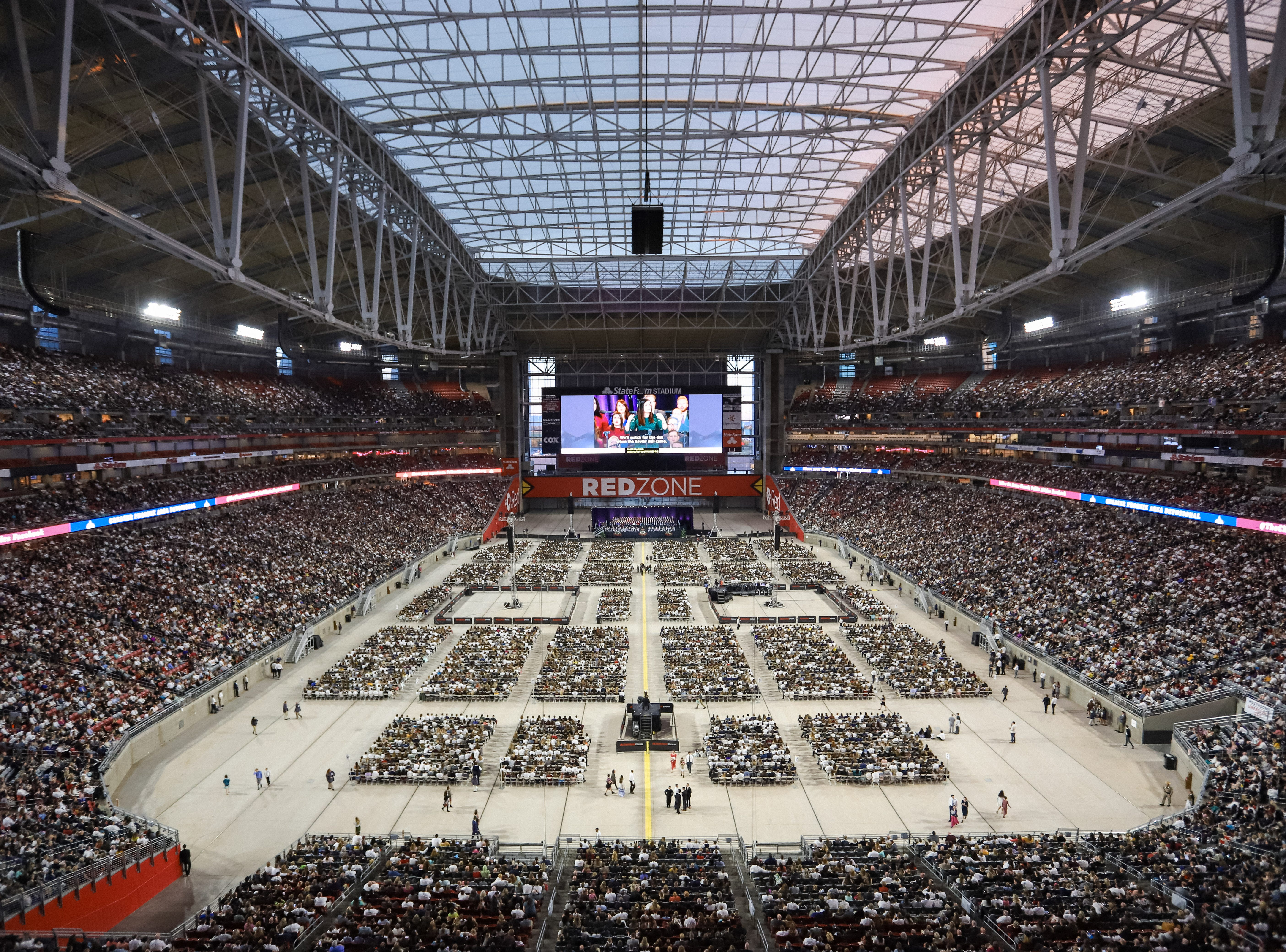 Thousands gather to hear President Russell M. Nelson, prophet of the Church of Jesus Christ of Latter-day Saints, at State Farm Stadium in Glendale, Arizona on Sunday, Feb. 10, 2019.