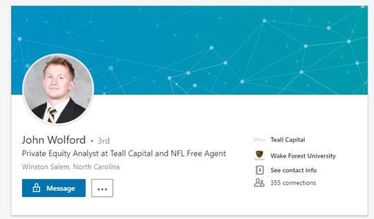 If football doesn't work out for John Wolford, he has a finance career to fall back on.