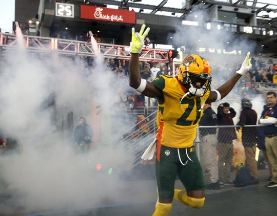 Robert Nelson comes onto the field ahead of the Arizona Hotshots' opener against the Salt Lake Stallions during the first half of their Alliance of American Football opener at Sun Devil Stadium.