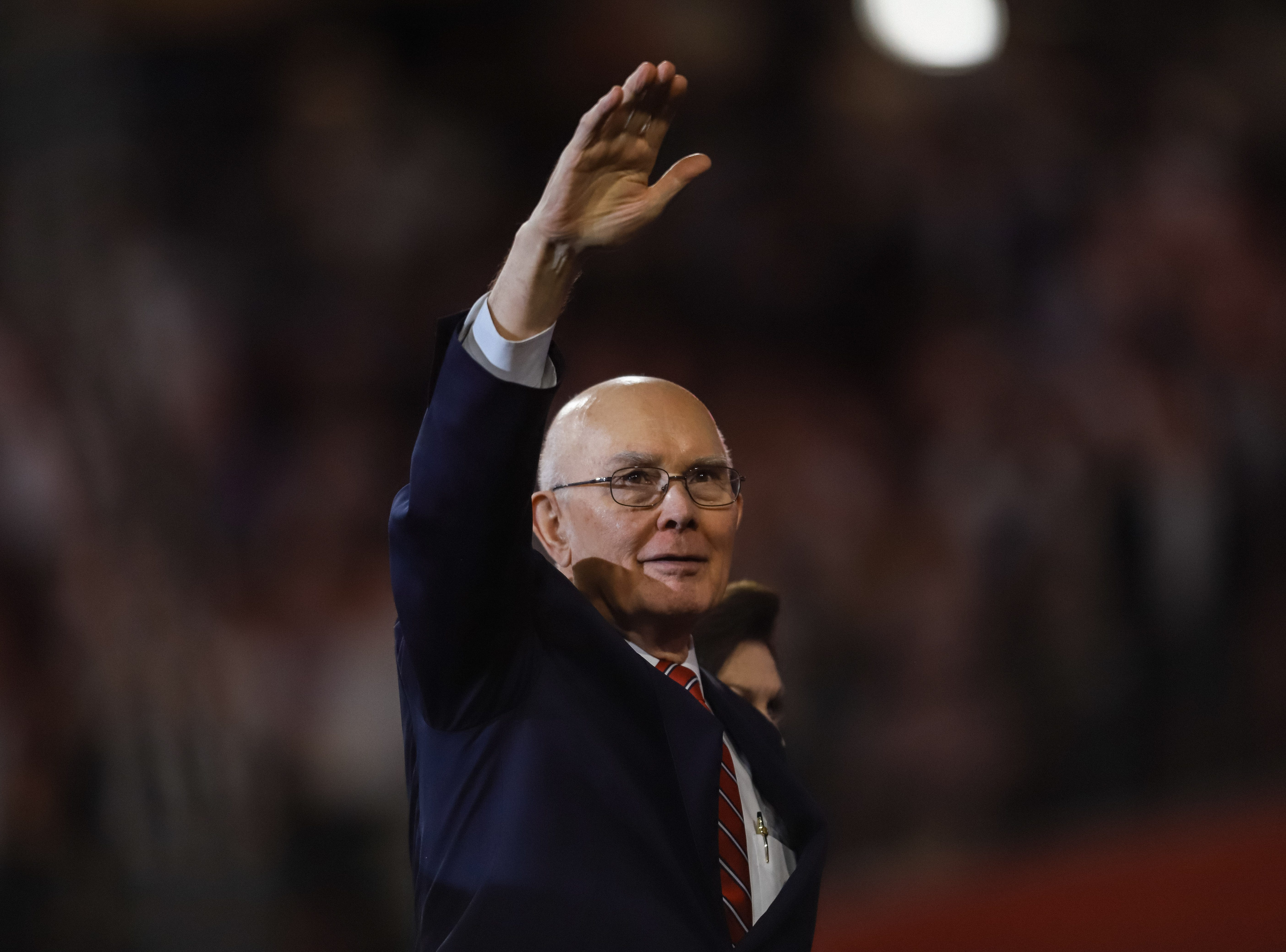 President Dallin H. Oaks, of the First Presidency of the Church of Jesus Christ of Latter-day Saints waves to the crowd after President Russell M. Nelson leaves, at State Farm Stadium in Glendale, Arizona on Sunday, Feb. 10, 2019.
