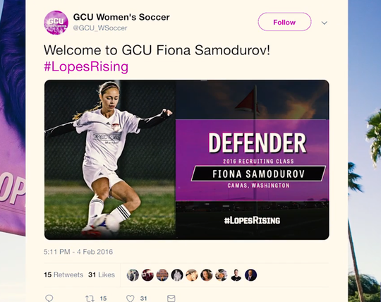 The GCU women's soccer program welcomes Fiona Samodurov on Twitter in February 2016.