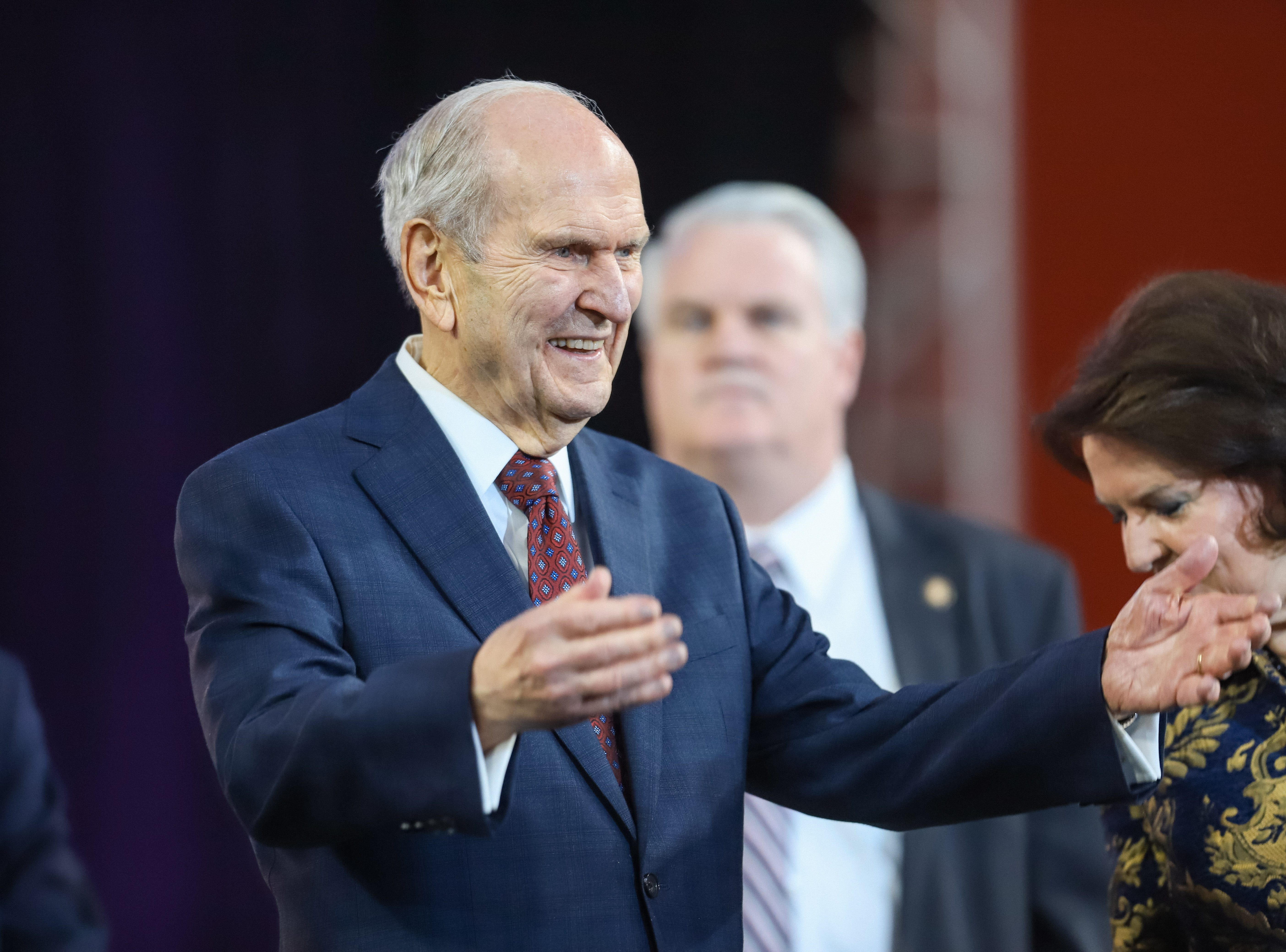 President Russell M. Nelson, the prophet of the Church of Jesus Christ of Latter-day Saints, waves to nearly 70,000 people at State Farm Stadium in Glendale, Arizona on Sunday, Feb. 10, 2019.