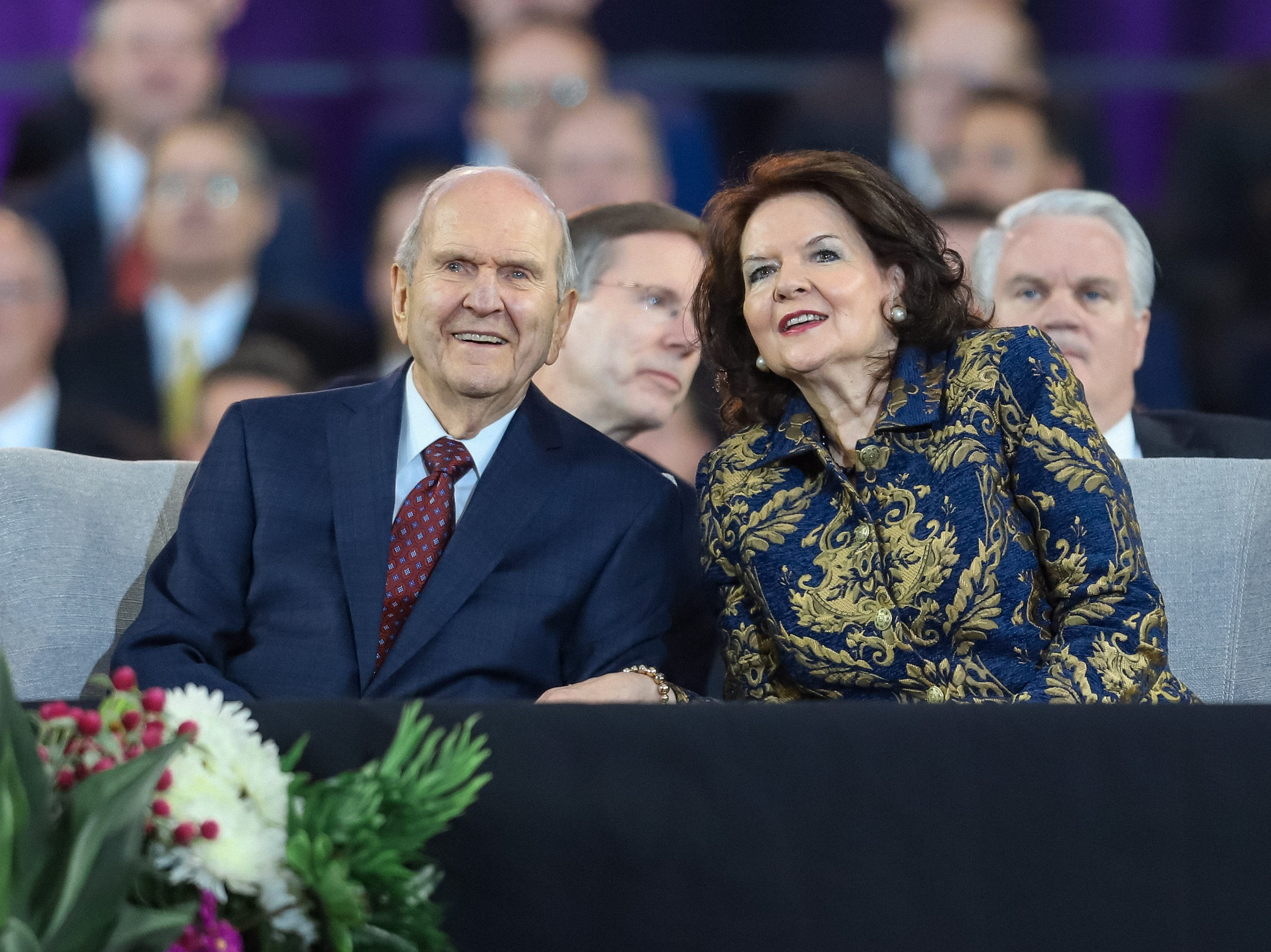 President Russell M. Nelson, the prophet of the Church of Jesus Christ of Latter-day Saints, looks out at nearly 70,000 people at State Farm Stadium in Glendale, Arizona on Sunday, Feb. 10, 2019.