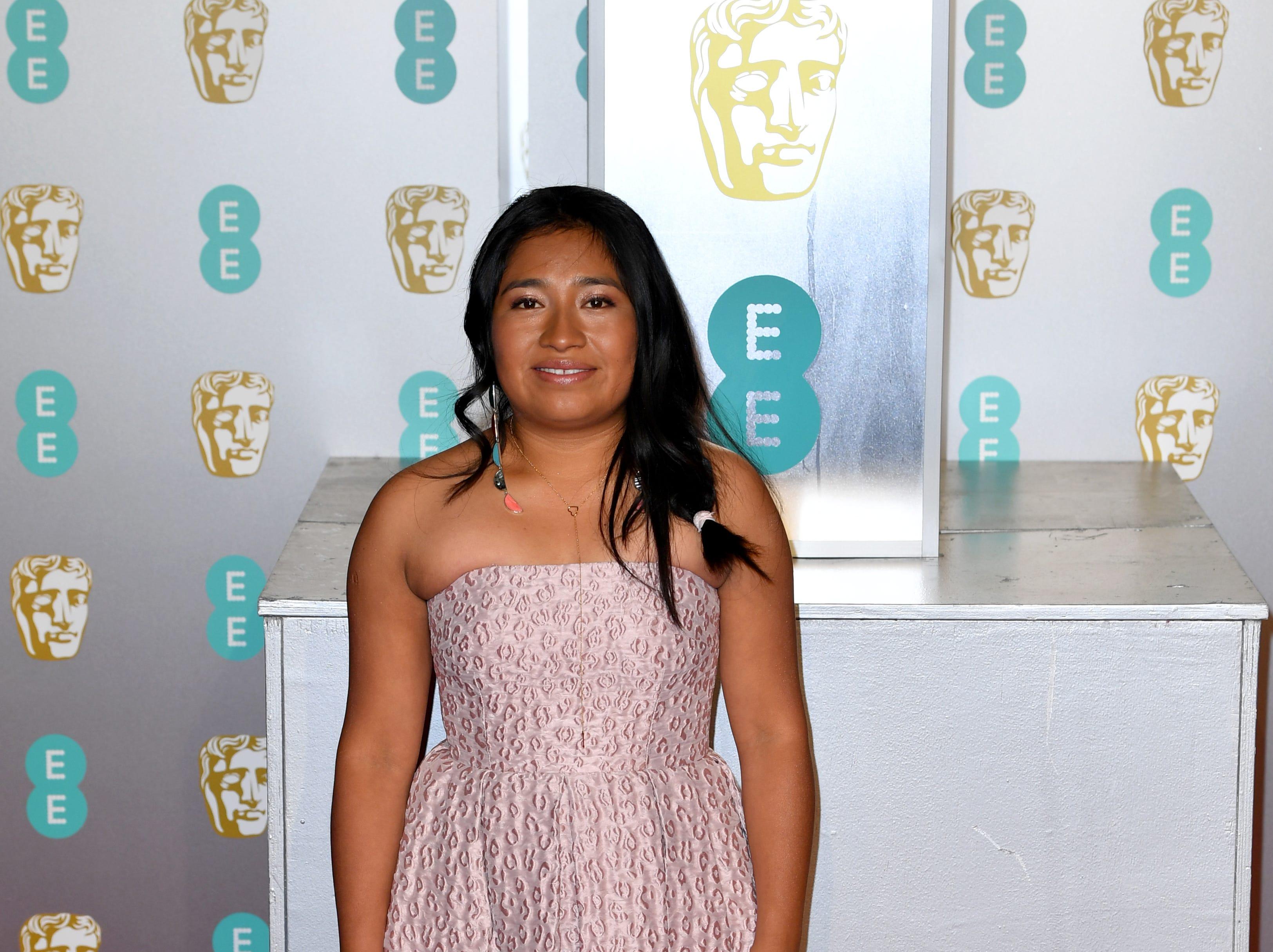 Nancy Garcia a su llegada a la alfombra roja de los Premios de la Academia Británica de Cine BAFTA en el Royal Albert Hall en Londres el 10 de febrero de 2019.