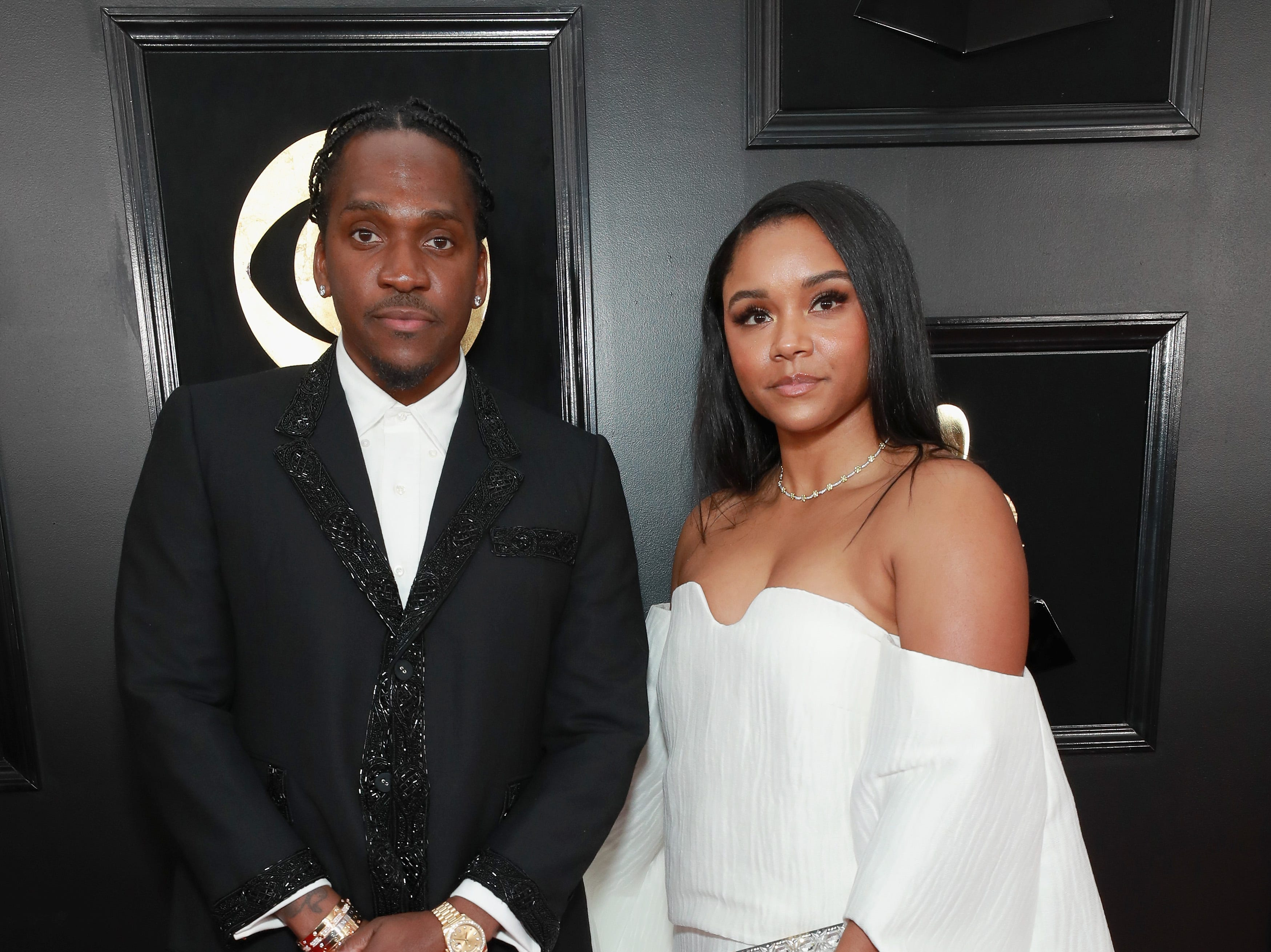 Pusha T y Virginia Williams asisten a la 61ª edición de los premios GRAMMY en el Staples Center el 10 de febrero de 2019 en Los Ángeles, California.