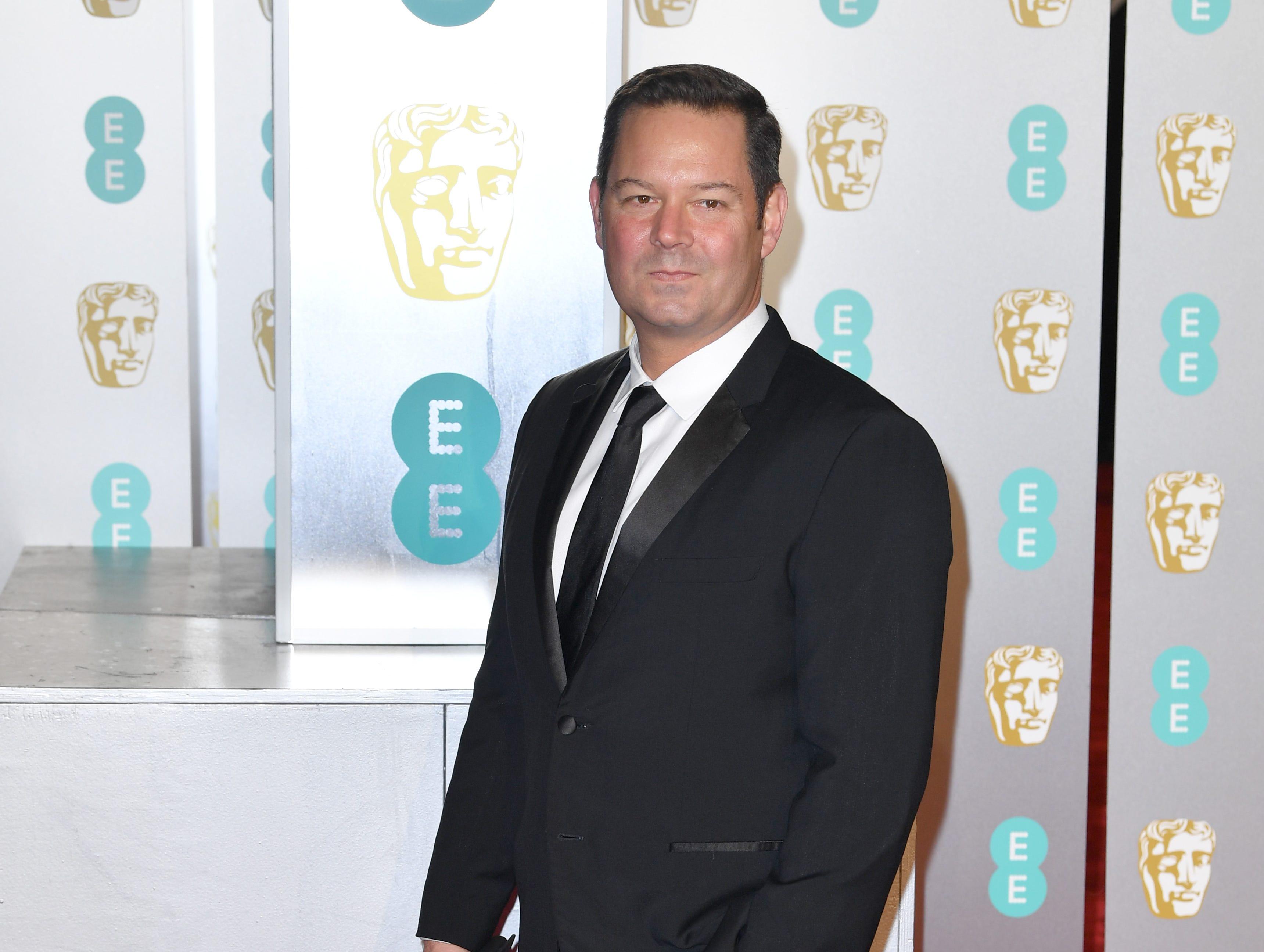 Kevin J. Messick a su llegada a la alfombra roja de los Premios de la Academia Británica de Cine BAFTA en el Royal Albert Hall en Londres el 10 de febrero de 2019.