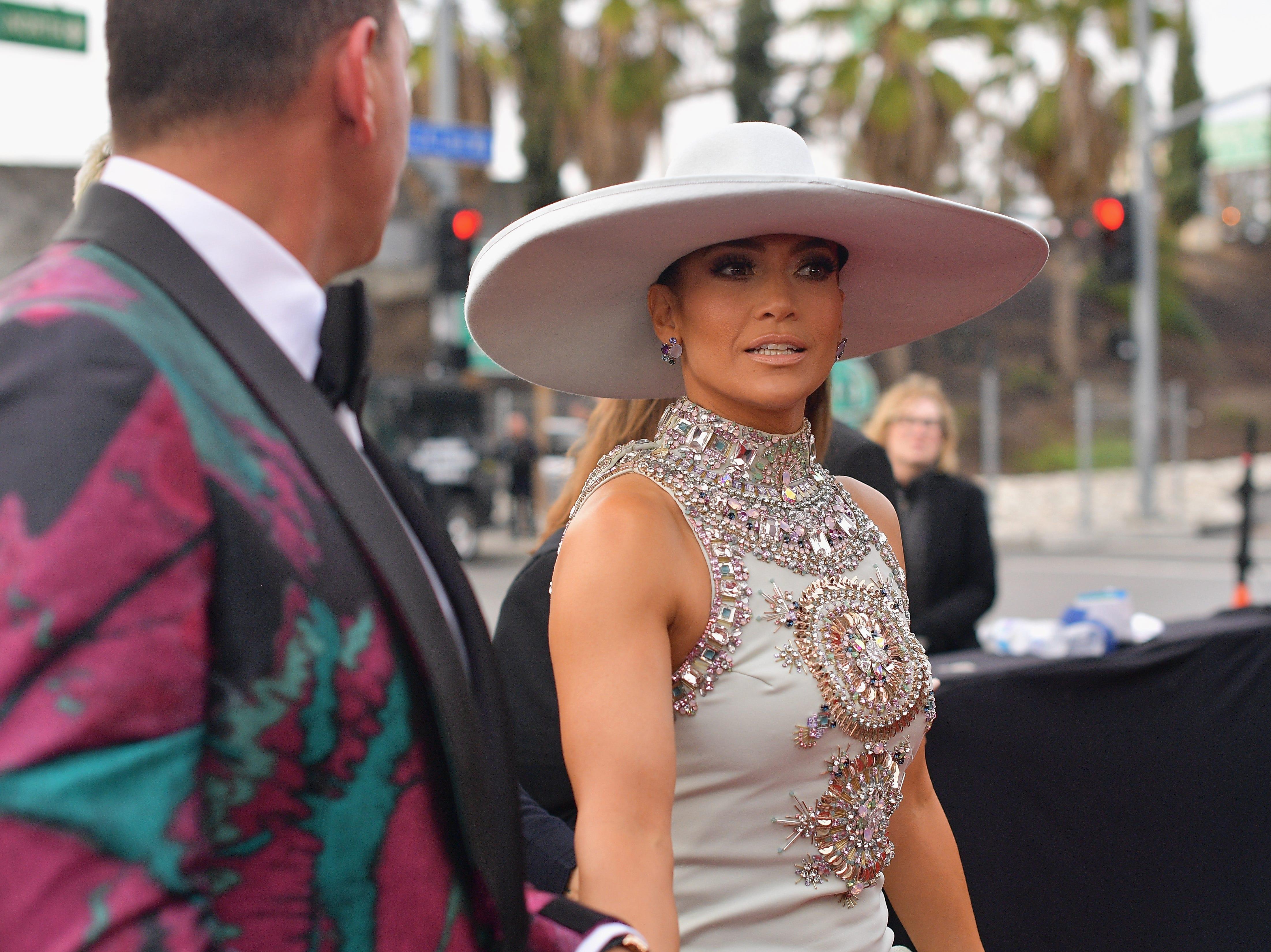 Alex Rodriguez y Jennifer Lopez asisten a la 61ª edición de los premios GRAMMY en el Staples Center el 10 de febrero de 2019 en Los Ángeles, California.