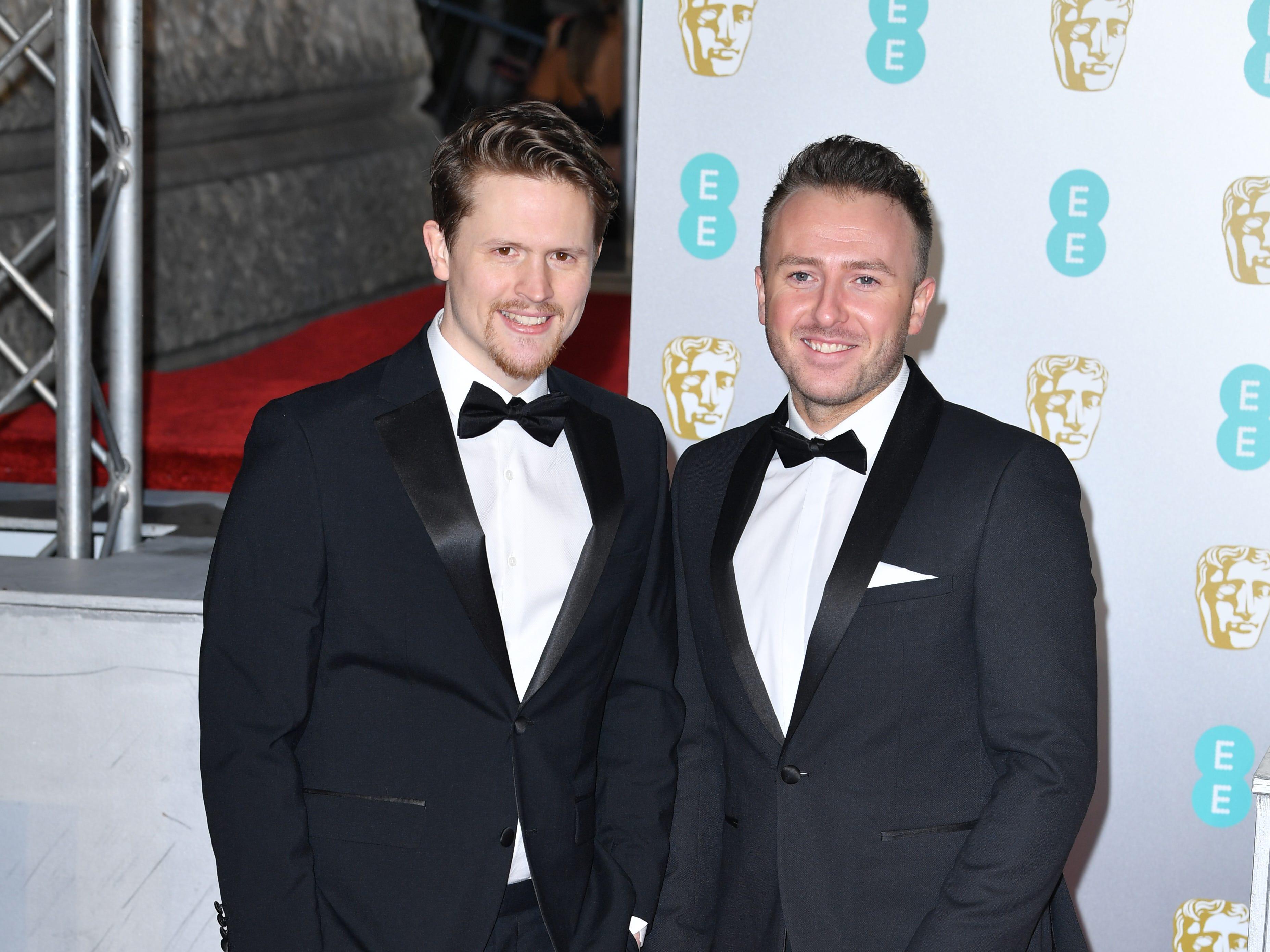El director Alex Lockwood y Oliver Walton a su llegada a la alfombra roja de los Premios de la Academia Británica de Cine BAFTA en el Royal Albert Hall en Londres el 10 de febrero de 2019.
