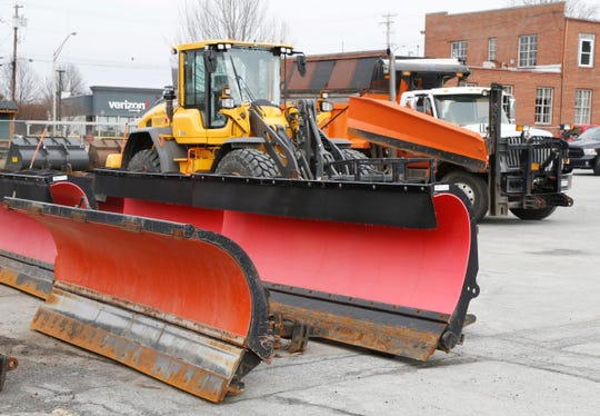 Town of Poughkeepsie Highway Department plows which will be fitted to trucks before Tuesday's storm starts on February 11, 2019.