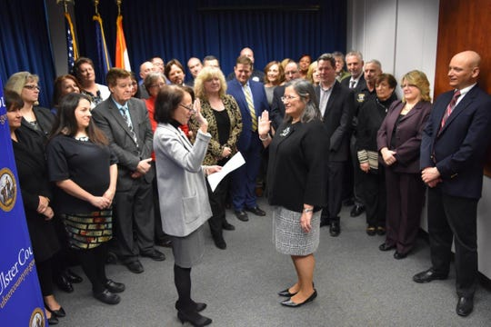Adele Reiter being sworn in as Acting Ulster County Executive on Monday