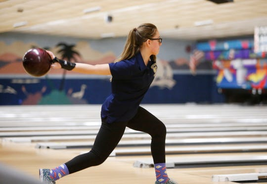 Beacon's Jenna Maffei during Monday's Section 1 bowling tournament in East Fishkill on February 11, 2019.