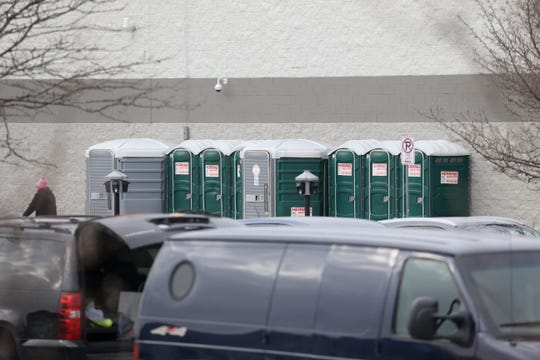 Port-a-potties outside of Wal Mart in Fishkill on February 11, 2019. Due to both public restrooms being out of service, customers were advised to use the port-a-potties outside the store.