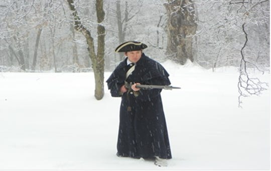 Continental Army Soldier Matt Thorenz, of Wallkill, stands guard during an event at New Windsor Cantonment.