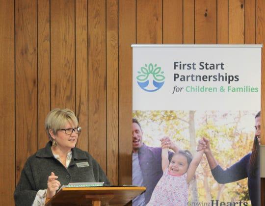 Dr. Annette Searfoss, president and CEO of First Start Partnerships for Children and Families, speaks to the crowd during a press conference to announce the name change on Friday, Feb. 8, 2019.
