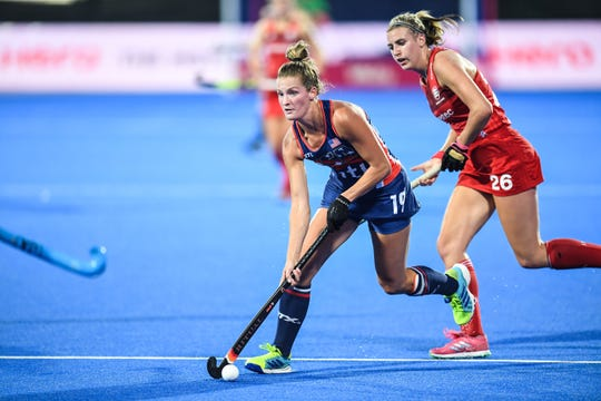 Central York High graduate Lauren Moyer, shown here in a file photo, and the U.S. women's field hockey team lost to Canada in the semifinals on the Pan An Games, 2-0, on Tuesday.
