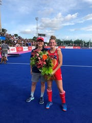 Central York High School graduate Lauren Moyer, right, is pictured with Janneke Schopman, the head coach of the United States Women's National Field Hockey Team, after Moyer recently made her 50th appearance with the national team. PHOTO COURTESY OF USA FIELD HOCKEY