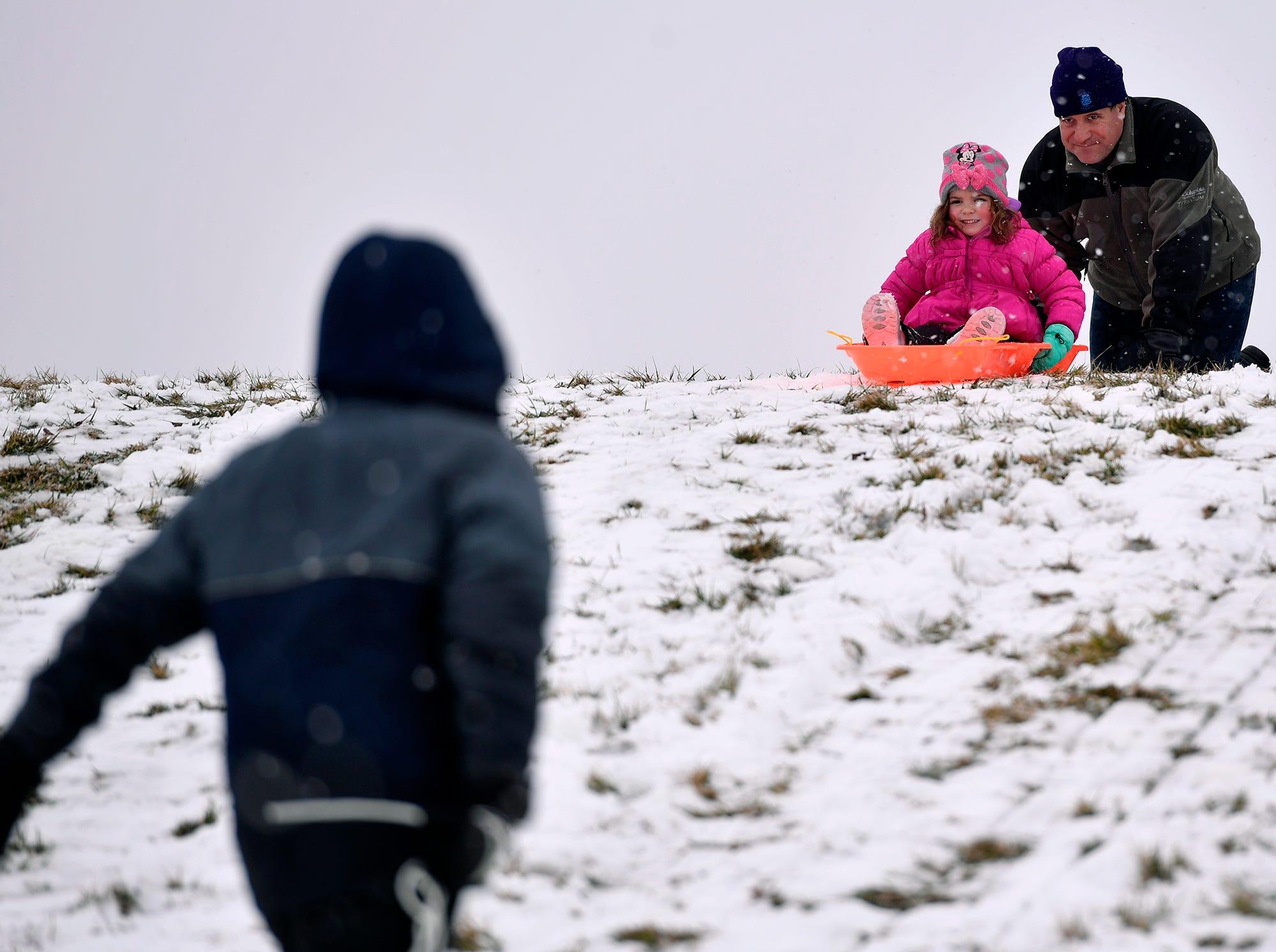 Sledding on a snow day at Springettsbury Park, Monday, Feb. 11, 2019. John A. Pavoncello photo