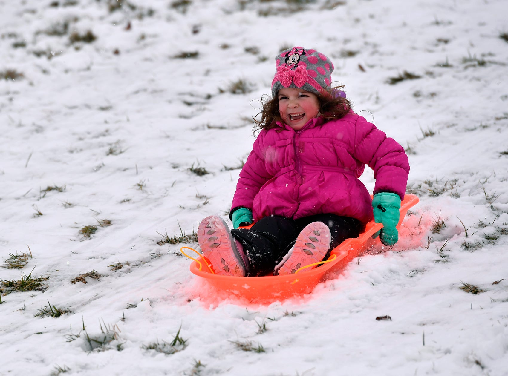Kaleigh Ernst, 4, giggles as she slides down the hill on her sled at Springettsbury Park, Monday, February 11, 2019.John A. Pavoncello photo