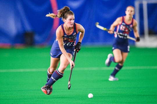 Central York High School graduate Lauren Moyer is seen here in a file photo playing for the U.S women's field hockey team.