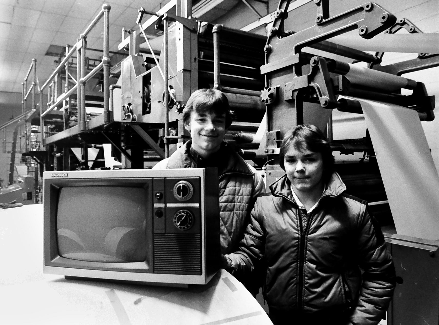 In 1985, two boys appear to be in the old Industrial Highway press room of the York Daily Record. Maybe they won a new Magnavox for deliveries?