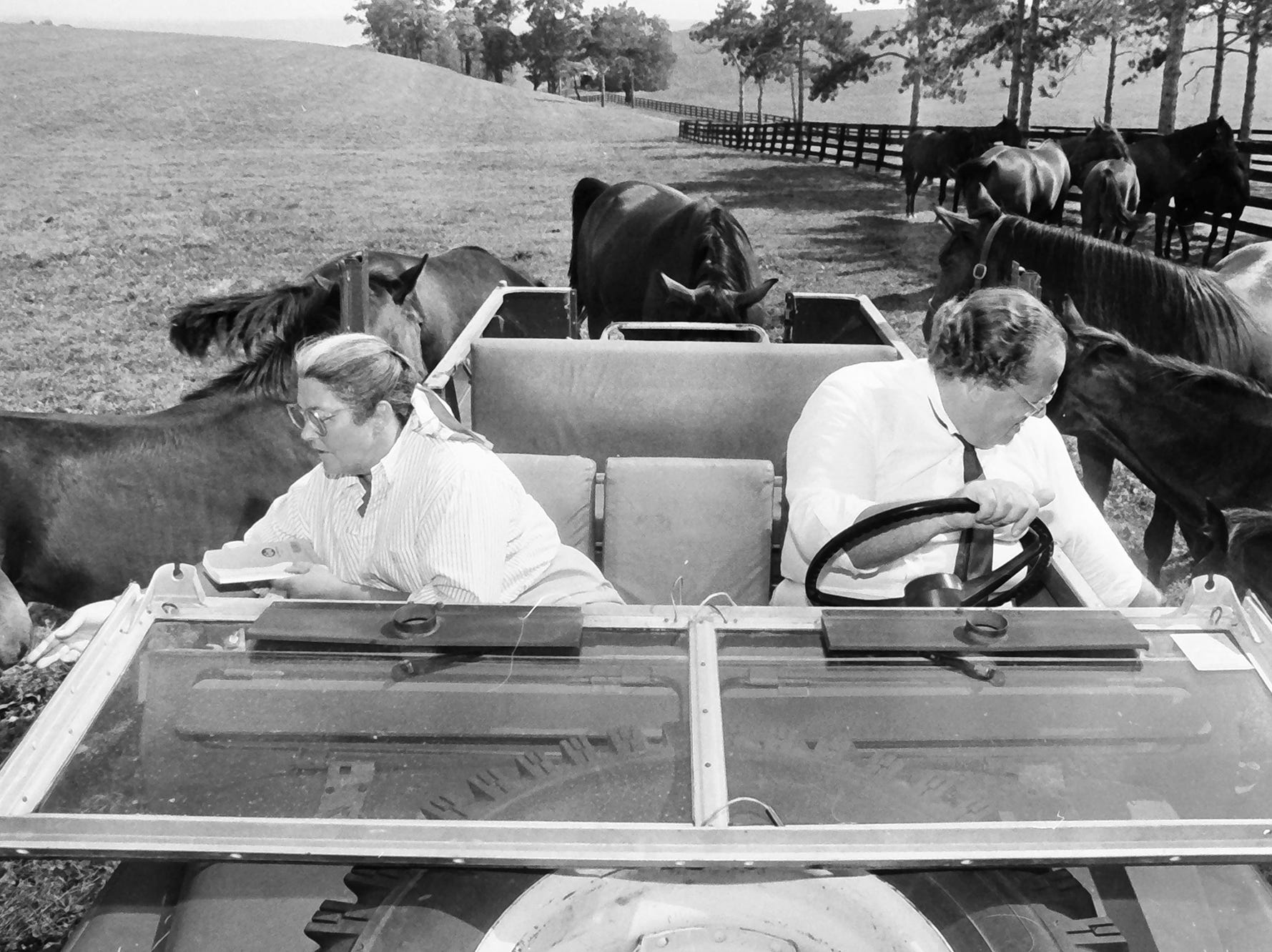 In 1985, people rode with the horses at Lauxmont Farms.