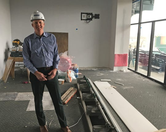York Revolution President Eric Menzer stands amid renovation work that will become the 1741 Club.