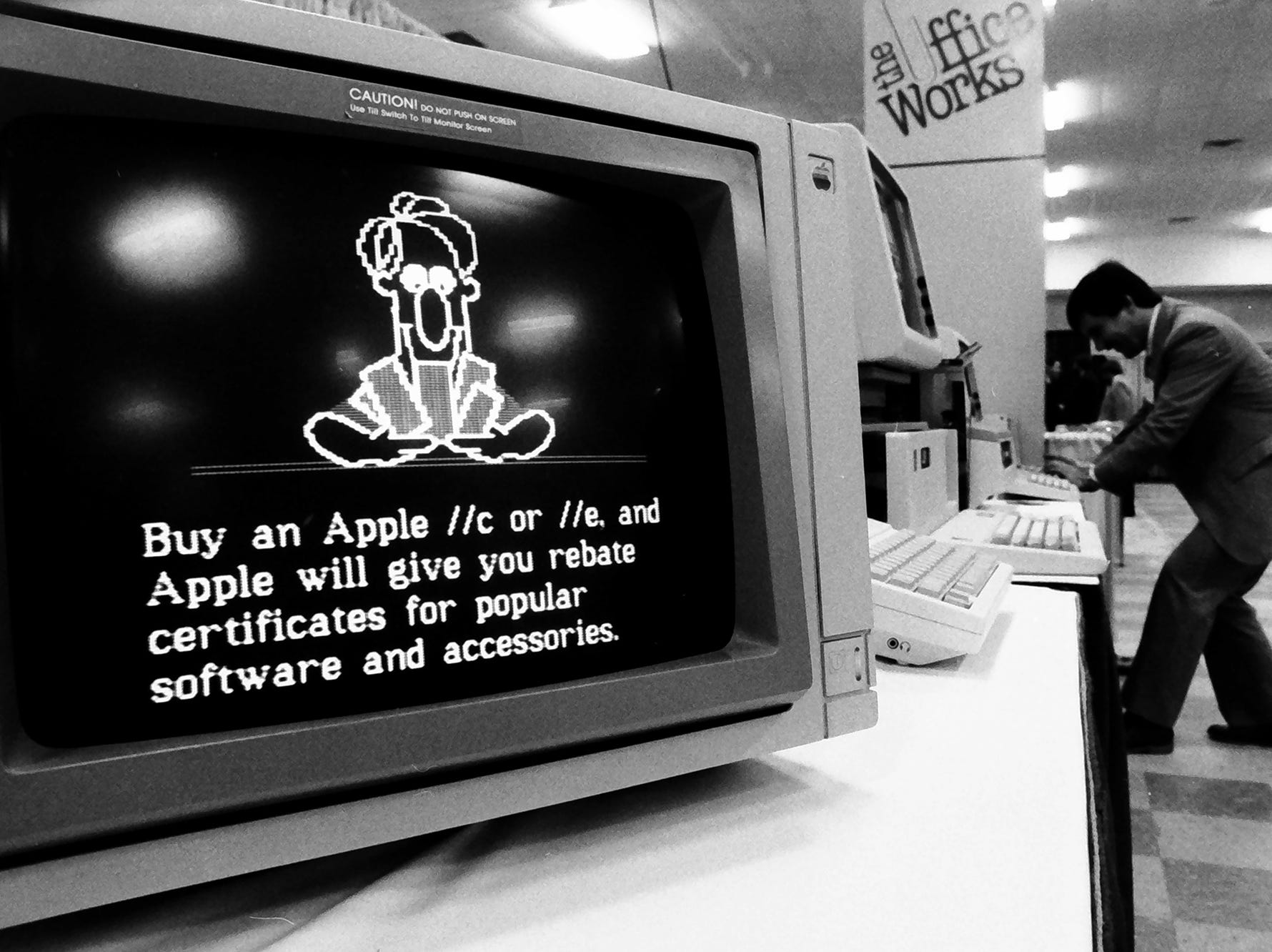 "In 1985, you could get a rebate certificate for software when you bought a new Apple IIc or IIe. Notice on the screen, ""CAUTION! Do Not Push on Screen."" Touch screens weren't a thing yet, but this one could be tilted."