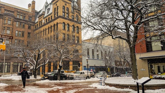 In this file photo, snow blankets downtown York Monday. More snow and icy weather is forecast this week, with the first system expected to hit central Pennsylvania Sunday afternoon.