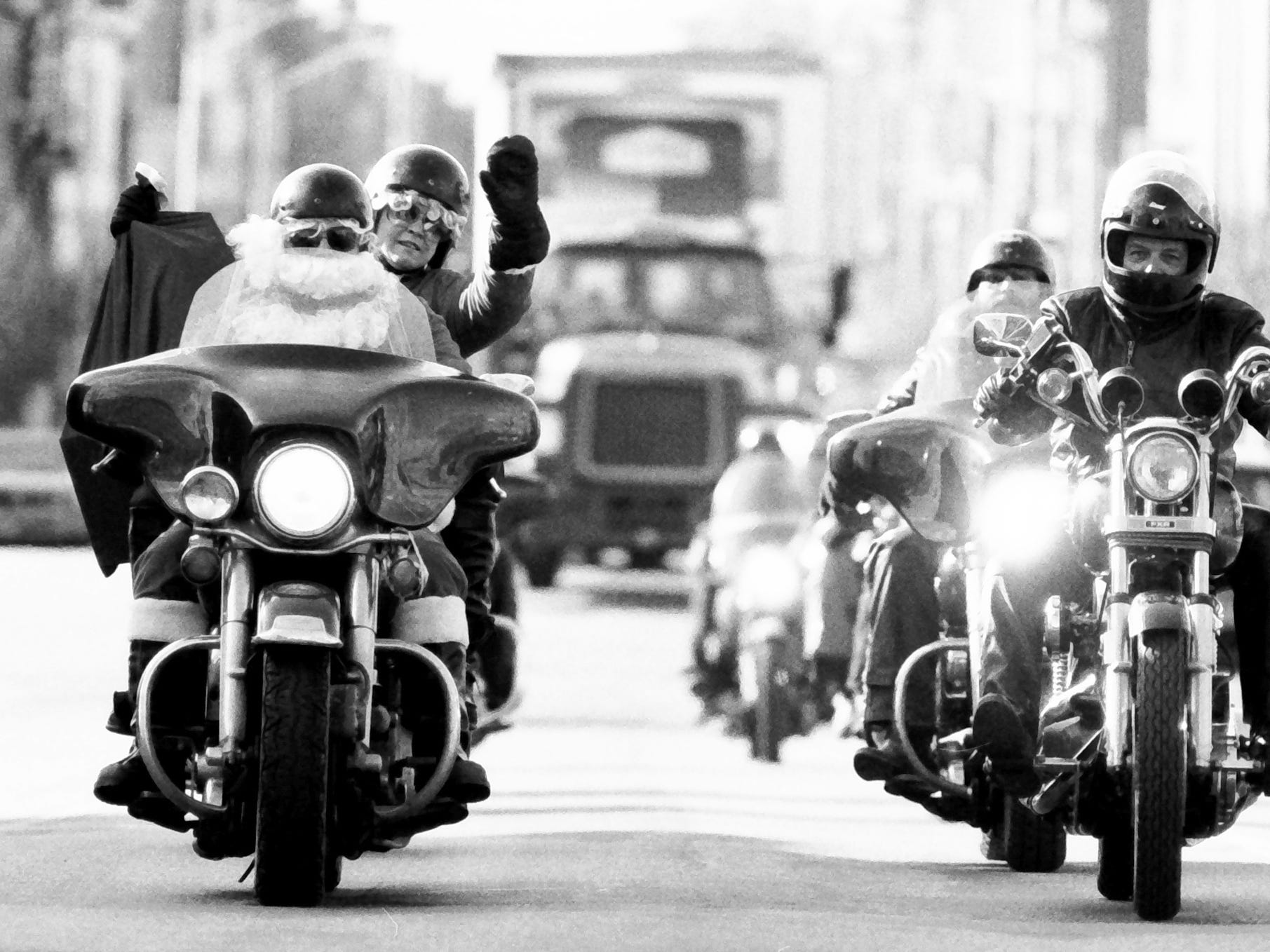 In 1985, Santa rode through the streets on a Harley.