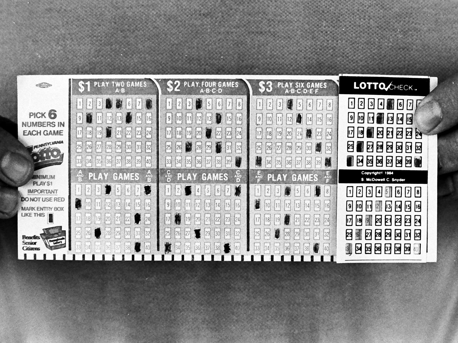 In 1985, a lottery ticket looked like a punch card.