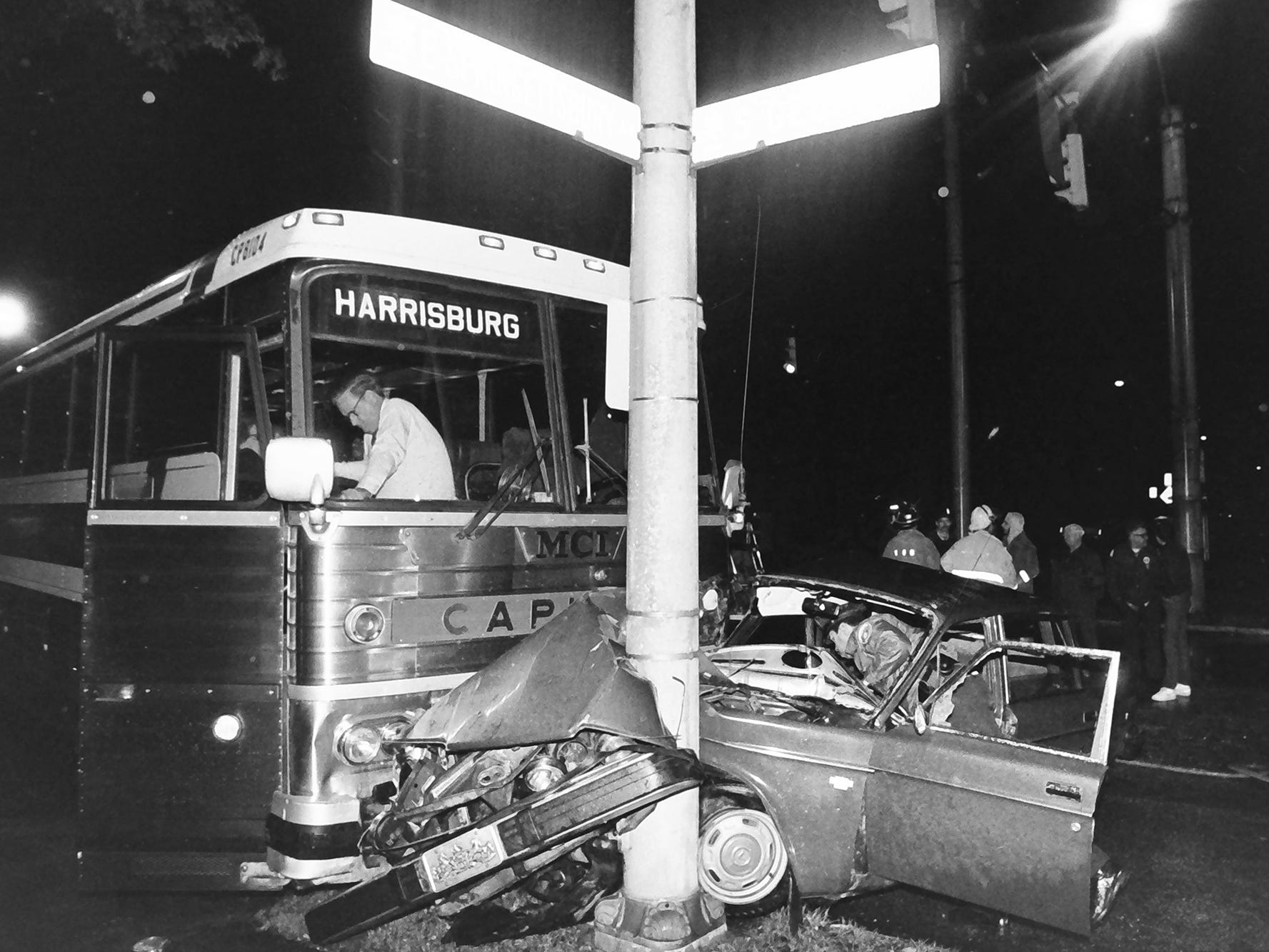 "In 1985, a bus crushed the front of a Volvo against a pole at Springettsbury and South George streets in York. (Scott Bohlen Says in a facebook comment, ""This accident was because the bus went through a red light on S. George and Springettsbury Ave. and ran into my first girlfriends Volvo - it orange like a pumpkin and she named it Linus."")"