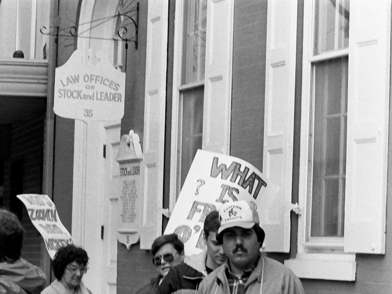 In 1985, teachers were picketing in front of the offices of Stock and Leader in York.