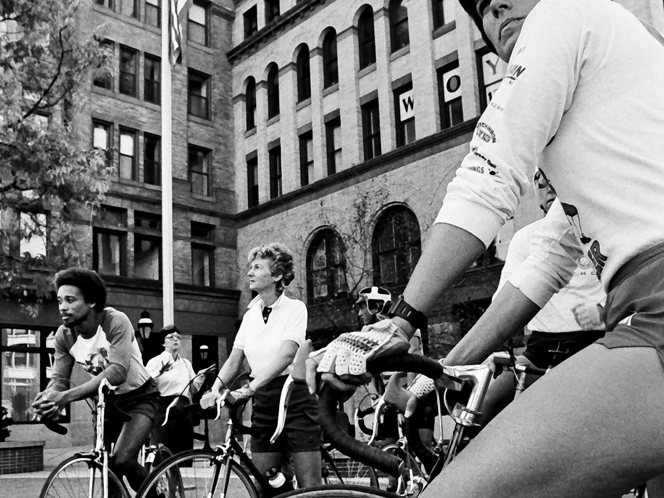 In 1985, people rode bicycles on Continental Square in York.