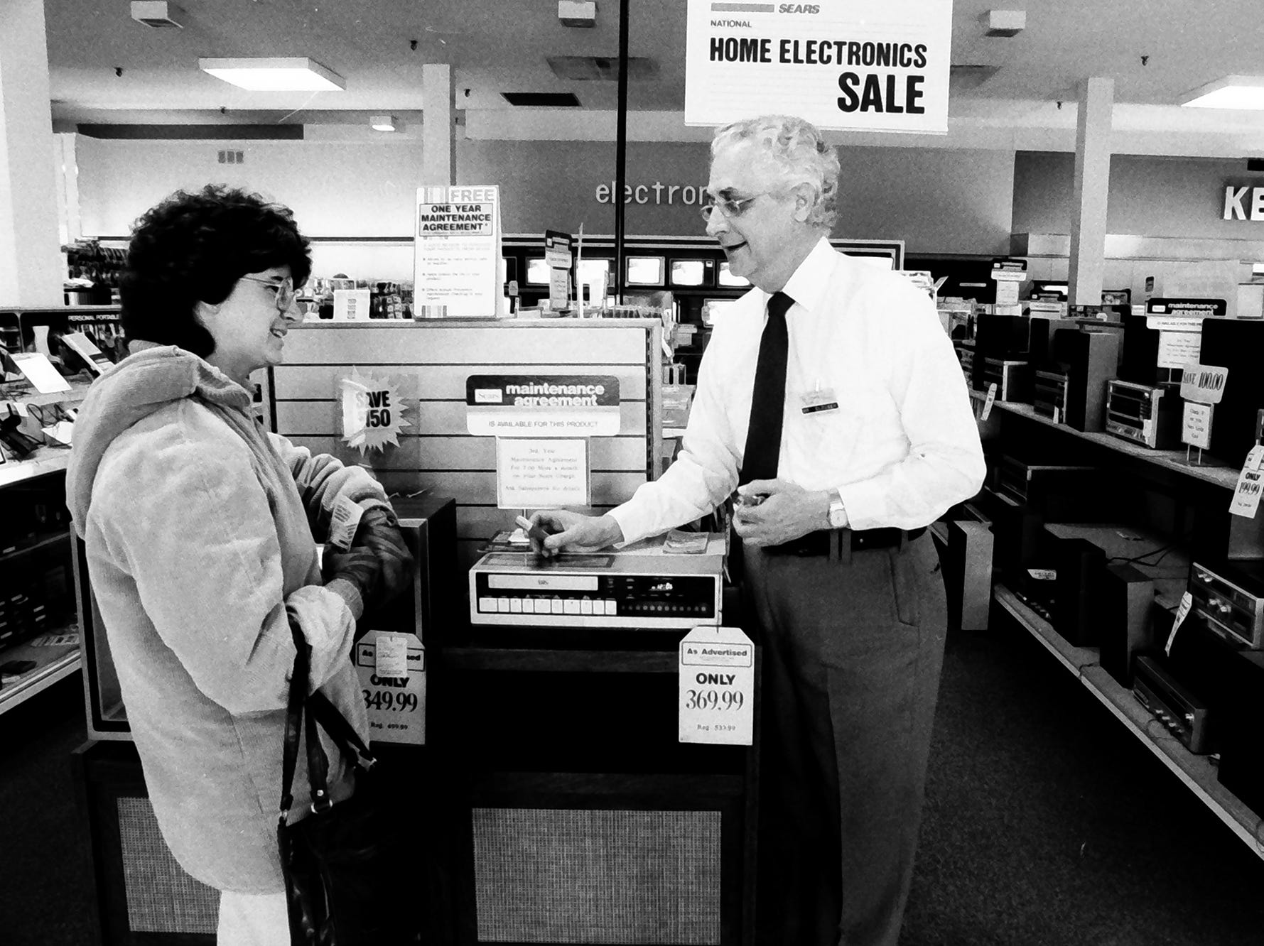In 1985, Sears was a big name and you could buy a VCR on sale for $369.