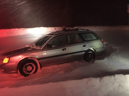 A Subaru trapped in snow on the Mt. Rose Highway on the night of Feb. 9 or 10.