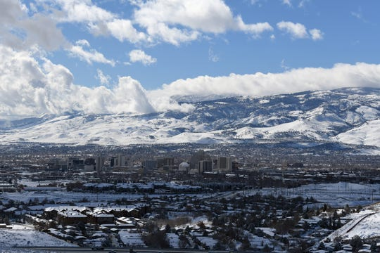 Reno blanketed in snow on Feb. 10, 2019 from the National Weather Service offices off Raggio Parkway.