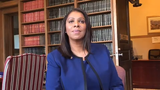 New York Attorney General Letitia James speaks to reporters on Monday, Feb. 11, 2019, in her Albany office.