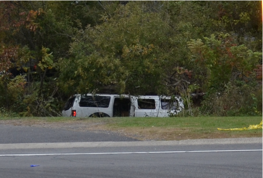 The 2001 Ford Excursion stretch limousine involved in the Oct. 6, 2018, crash in Schoharie, New York, that killed 20 came to rest in a ravine.