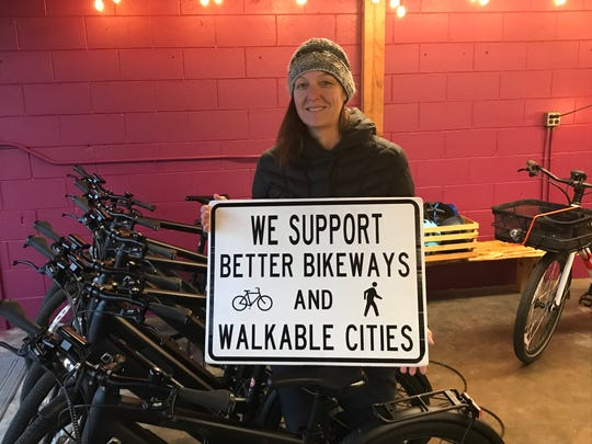 Anne Thomas, executive director of Shasta Living Streets, a Redding group that promotes downtown biking.