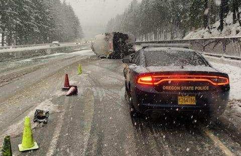 A tanker overturned Monday on I-84.