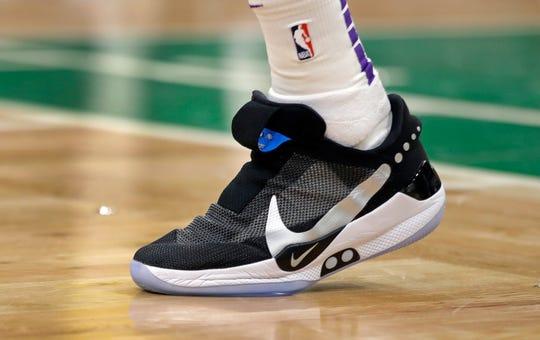 Los Angeles Lakers forward Kyle Kuzma wearing Nike's latest performance basketball shoes, the Nike Adapt BB.