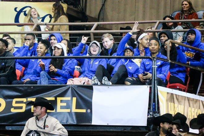 Angelo State basketball team watches the San Angelo Stock Show & Rodeo matinee show Sunday, Feb. 10, 2019, at Foster Communications Coliseum.