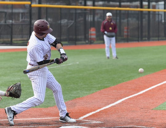 Salisbury University's Jack Barry swings the bat against Gwynedd Mercy on Sunday, Feb. 10, 2019.